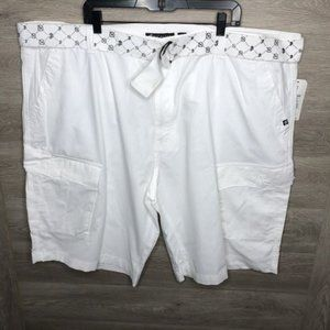 Rocawear Mens Size 52 White Cargo Belt Shorts NEW